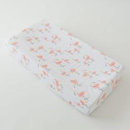 Little Unicorn Little Unicorn - Housse de Matelas à Langer en Mousseline de Coton / Cotton Muslin Changing Pad Cover, Flamants/Pink Ladies