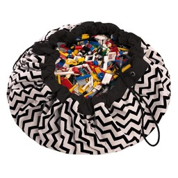Play & Go Play & Go - Sac de Rangement/Storage Bag, Zigzag Noir/Zigzag Black