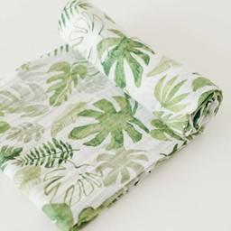 Little Unicorn Little Unicorn - Couverture en Mousseline de Coton à l'Unité / Single Cotton Muslin Blanket, Tropical Leaf