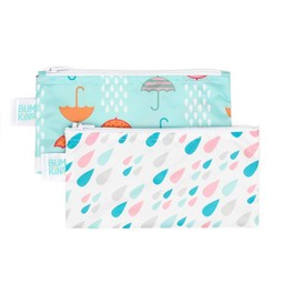 Bumkins Bumkins - Paquet de 2 Sacs à Collation Réutilisables/Reusable Snack Bag 2 Pk, Gouttes d'eau/Raindrops