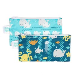 Bumkins Paquet de 2 Sacs à Collation Réutilisables de Bumkins/Bumkins Reusable Snack Bag 2 Pk, Océan/Seafriends