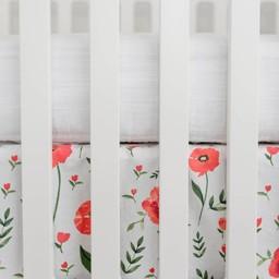Little Unicorn Little Unicorn - Jupe de Lit en Percale de Coton / Cotton Percale Crib Skirt, Coquelicot/Summer Poppy
