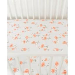 Little Unicorn Drap Contour en Coton Brossé de Little Unicorn/Little Unicorn Brushed Cotton Crib Sheet, Flamants/Pink Ladies