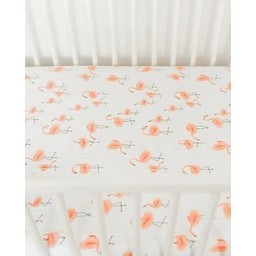 Little Unicorn Little Unicorn - Drap Contour en Coton Brossé/Brushed Cotton Crib Sheet, Flamants/Pink Ladies