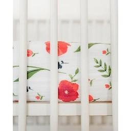 Little Unicorn Little Unicorn - Drap Contour en Coton Brossé/Brushed Cotton Crib Sheet, Coquelicots/Summer Poppy