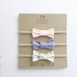 Mlle Léonie Mlle Léonie - Trio de Bandeaux /Headbands Trio, Boucles en Tissu Bouton d'Or/Gold Button Fabric Bows