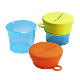 Boon Boon-Bols à Collation avec Couvercles en Silicone/Snack Bowls with Silicone Lids, Orange et Vert/Green Orange