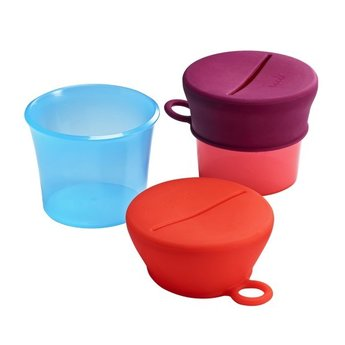 Boon Boon-Bols à Collation avec Couvercles en Silicone/Snack Bowls with Silicone Lids, Rouge Rose/Red Pink