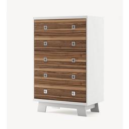 Dutailier Dutailier Pomelo - Commode 5 Tiroirs/5 Drawers Dresser, Noyer et Blanc/Walnut and White