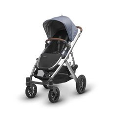 UPPAbaby PRÉ-COMMANDE - UPPAbaby, Vista 2017 - Poussette Base Aluminium/Stroller Aluminium Frame, Cuir/Leather, Henry (Bleu Merle/Blue Marl)