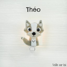 Veille Sur Toi Veille Sur Toi, Veilleuse en Verre Théo le Loup/Glass Nightlight Theo The Wolf