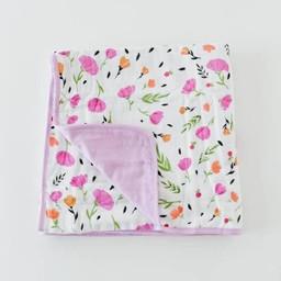 Little Unicorn Couette en Cotton Brossé Little Unicorn/Little Unicorn Brushed Quilt, Baies et Fleurs/Berry Bloom