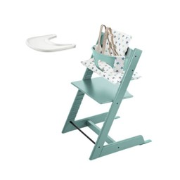 Stokke Stokke Tripp Trapp - Chaise Haute, Ensemble Bébé, Coussin et Plateau/Chair, Babyset, Cushion and Tray, Aqua et Étoiles/Aqua and Stars
