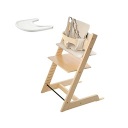 Stokke Stokke Tripp Trapp - Chaise Haute, Ensemble Bébé, Coussin et Plateau/Chair, Babyset, Cushion and Tray, Naturel et Rayures Beiges/Natural and Beige Stripe