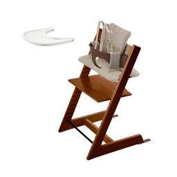 Stokke Stokke Tripp Trapp - Chaise Haute, Ensemble Bébé, Coussin et Plateau/Chair, Babyset, Cushion and Tray, Marron et Tweed Gris/Walnut and Hazy Tweed