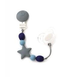 Bulle Bijouterie Bulle Bijouterie - Attache-Suce Étoile en Billes de Silicone/Star Silicone Beads Pacifier Clip, Gris, Bleu Acier et Marine/Grey, Blue and Navy