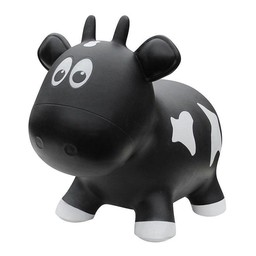 Farm Hoppers Farm Hoppers- Ballon Sauteur/Jumping Animals, Vache Noire/Black Cow
