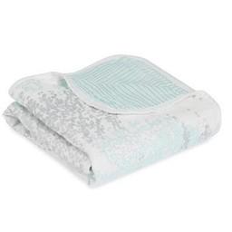 Aden + Anais Aden et Anais - Couverture pour Poussette en Bambou/Silky Soft Stroller Blanket, Bouleau Argent, Skylight Birch