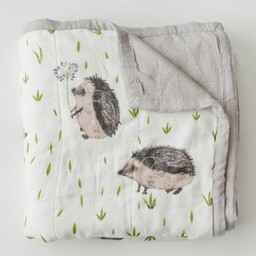 Little Unicorn Little Unicorn - Couette Deluxe en Mousseline de Bambou/Deluxe Bamboo Muslin Quilt, Hedgehog/Hérisson