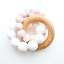 Loulou Lollipop Loulou Lollipop - Jouet de Dentition Trinity en Bois et Silicone/ Trinity Wood and Silicone Teether, Quartz Rose/Rose Quartz
