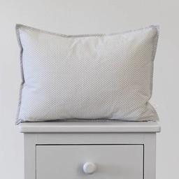 Bouton Jaune Bouton Jaune - Cache-Oreiller 12x16 Pouces/12x16 Inches Pillow Cover, Liberté, Surpiqué Pois Gris/Stitched Grey Dots