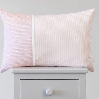 Bouton Jaune Bouton Jaune - Cache-Oreiller 13x20 Pouces/13x20 Inches Pillow Cover, Liberté, Rayé et Pois Rose/Pink Stripe and Dots