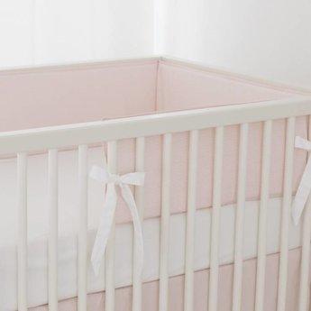 Bouton Jaune Bouton Jaune - Demi-Bordure de Lit/ Bed Half Bumper, Liberté, Rayé Rose/Pink Stripe