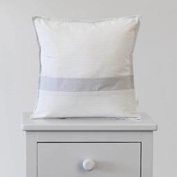 Bouton Jaune Bouton Jaune - Oreiller 12x12 avec Pochette/12x12 Pillow, Liberté, Rayé Gris/Grey Stripe