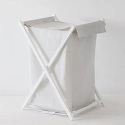 Bouton Jaune Bouton Jaune - Panier à Linge/Laundry Basket, Liberté, Rayé Gris/Grey Stripe
