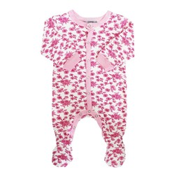 Coccoli Coccoli, Woodsy Atmosphere - Pyjama à Pattes en Jersey/Jersey Footie, Fleurs Rose/Pink Flowers