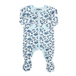 Coccoli Coccoli, Woodsy Atmosphere - Pyjama à Pattes en Jersey/Jersey Footie, Fleurs Bleu/Blue Flowers