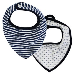 Coccoli Coccoli, Thick of Winter - Paquet de 2 Bavoirs/Pack of 2 Bibs, Rayé et Croix/Navy and Cross
