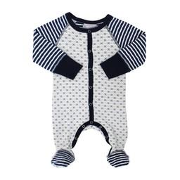 Coccoli Coccoli - Pyjama à Pattes en Coton/Cotton Footie, Gris et Marine/Navy Grey