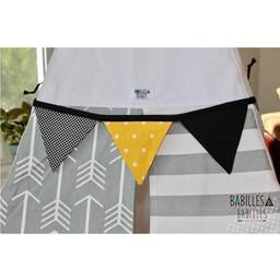 Babilles & Babioles Babilles & Babioles - Banderole de Fanions Pour Tipi / Pennant Banner for Tipi, Noir Blanc et Jaune/Black, White and Yellow