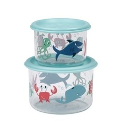 Sugarbooger Sugarbooger - Paquet de 2 Petits Contenants à Collation/Set of 2 Good Lunch Containers Small, Océan/Ocean