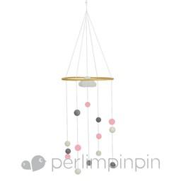 Perlimpinpin Mobile Décoratif de Perlimpinpin/Perlimpinpin Decorative Mobile, Pompons Rose/Pink Pompoms