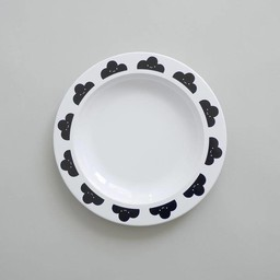 Buddy and Bear Ltd Buddy and Bear - Assiette Nuage Content/Happy Clouds Plate, Noir/Black