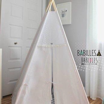 Babilles & Babioles Babilles & Babioles, Exclusivité - Tipi, Boho Blanc Pompon/White Boho Pompom