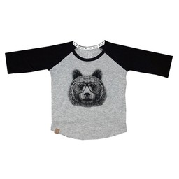 L&P L&P - Chandail Manches 3/4 Ours/Bear 3/4 Sleeves Sweater, Gris et Noir/Grey and Black