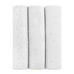 Aden + Anais *Aden et Anais - Paquet de 3 Couvertures Classiques/3-Pack Classic Swaddles, Argent Métallique Deco/Metallic Silver Deco