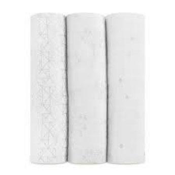 Aden + Anais Aden et Anais - Paquet de 3 Couvertures Classiques/3-Pack Classic Swaddles, Argent Métallique Deco/Metallic Silver Deco