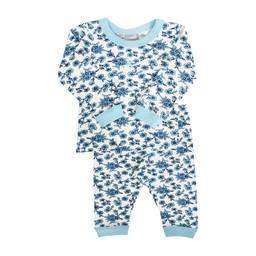 Coccoli Coccoli, Woodsy Atmosphere - Pyjama 2 Pièces en Jersey/Jersey 2 Pieces Pajama, Fleurs Bleu/Blue Flowers