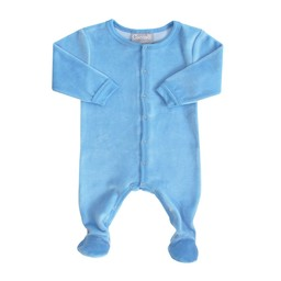 Coccoli Coccoli, Country Living - Pyjama à Pattes en Velour/Velvet Footie, Bleu/Blue