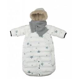 7 A.M 7AM - Habit de Neige Doudoune 100/Doudoune Snowsuit, Blanc avec Étoiles/White with Stars