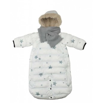 7 A.M 7AM - Habit de Neige Doudoune 100/Doudoune Snowsuit, Blanc avec Étoiles/White with Stars