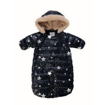 7 A.M 7AM - Habit de Neige Doudoune 100/Doudoune Snowsuit, Noir avec Étoiles/Black with Stars