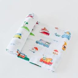 Little Unicorn Little Unicorn - Couverture en Mousseline de Coton à l'Unité/Single Cotton Muslin Blanket, Camion de Rue/Food Truck