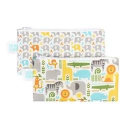 Bumkins Bumkins - Paquet de 2 Sacs à Collation Réutilisables/Reusable Snack Bag 2 Pk, Safari, Éléphant/Safari, Elephant