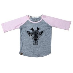 L&P L&P - Chandail Manches 3/4 Girafe/Giraffe 3/4 Sleeves Sweater, Gris et Vieux Rose/Grey and Old Pink