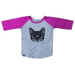 L&P L&P - Chandail Manches 3/4 Chat/Cat 3/4 Sleeves Sweater, Gris et Mauve/Grey and Purple
